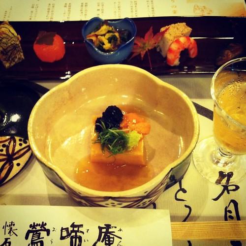 先付け 雲丹豆腐琥珀あん掛け  秋のあしらいを添えて   八寸  料理長のお奨め肴 旬の味覚盛り合わせ