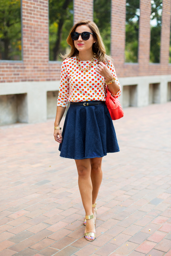 Tippi sweater + flared denim skirt