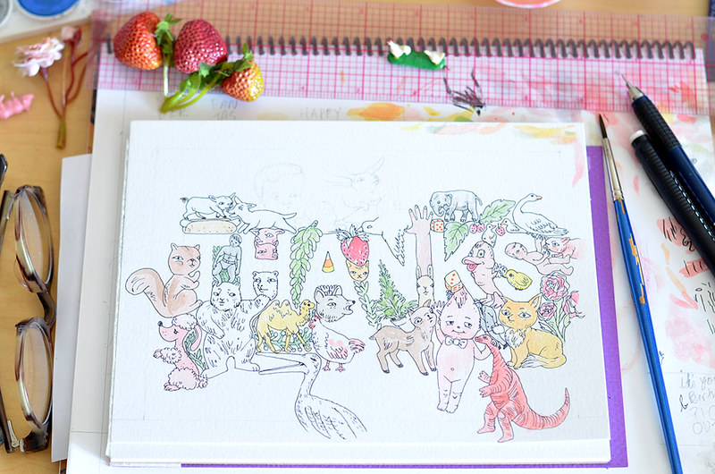 thanks card in progress