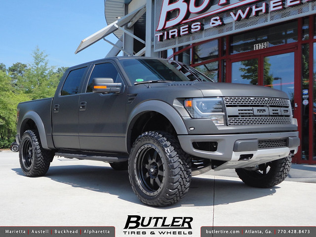 Matte Black Ford Raptor with 22in Fuel Trophy Wheels ...