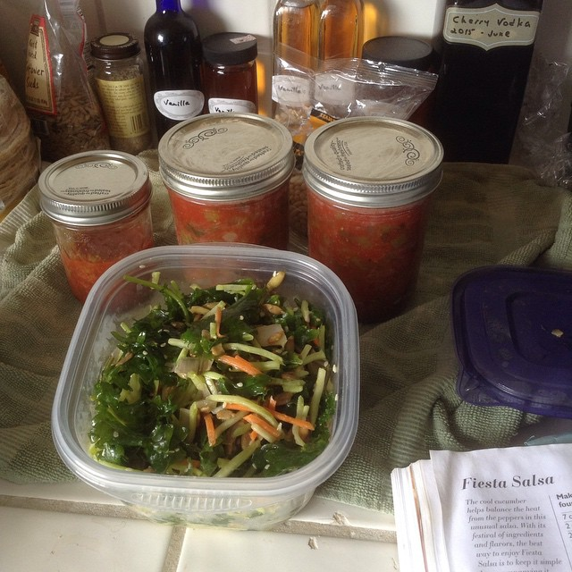 Dashing through a day's cooking before we set off for our overnight escape at Venice Beach--Jasmin's Kale Salad made + canned 2 pints HOT jalapeño-based salsa. Hope to do fresh bread, peach kale salad + basil pesto plus get our organic veggie box this mor