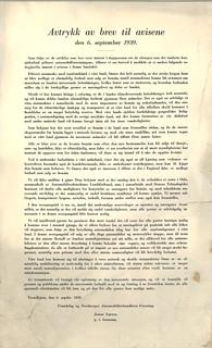Avtrykk av brev til avisene den 6. september 1939