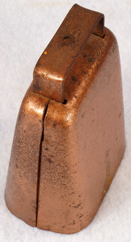 RD14823 Vintage Copper Colored Steel Cow Bell 5 inch Tall DSC09295