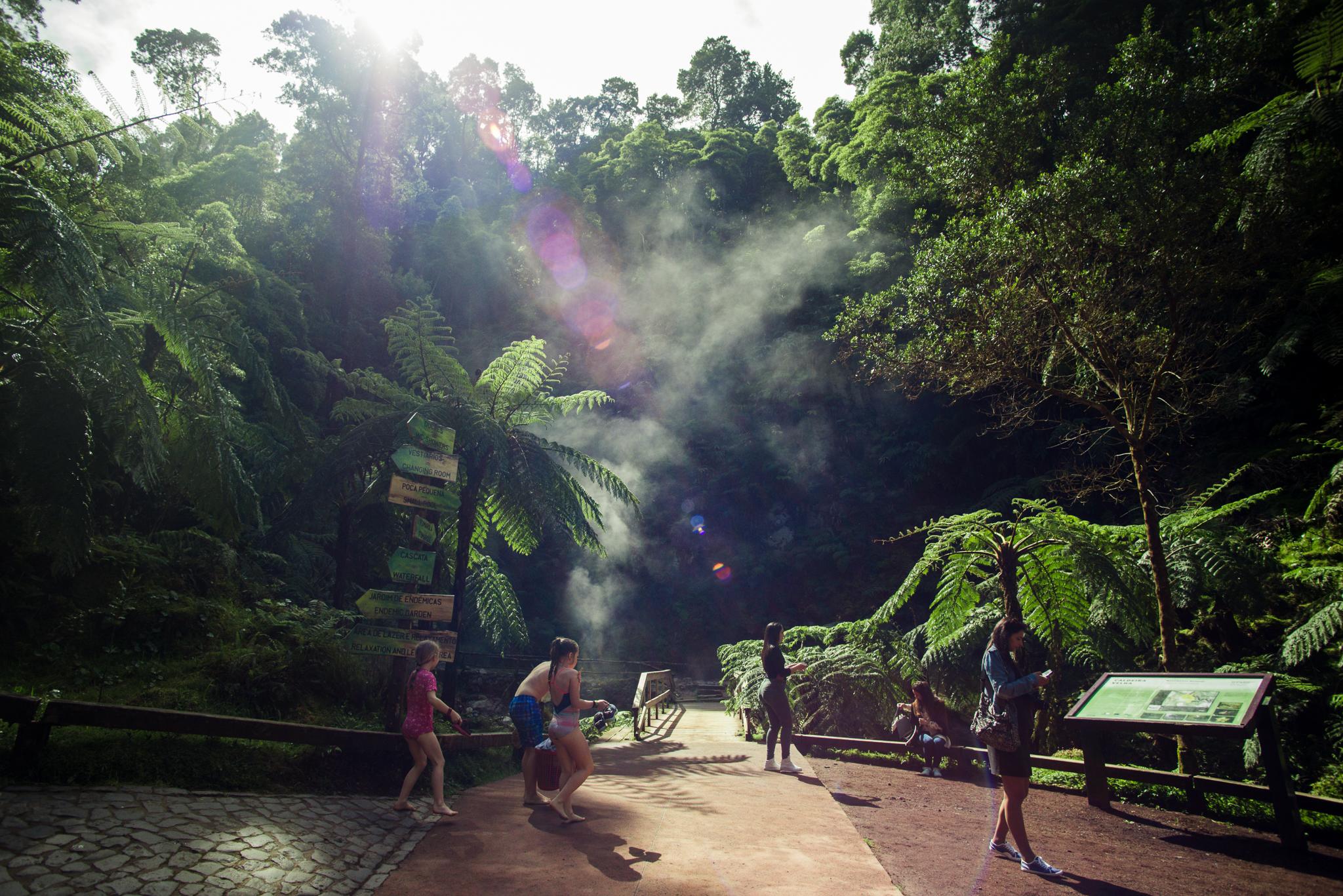 Caldeira Velha park az Sao Miguel szigetén az Azori-szigeteken.