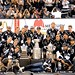LA Kings Team Photo with Conn Smythe Trophy, Campbell Bowl, and Stanley Cup at 2014 Stanley Cup Championship Rally