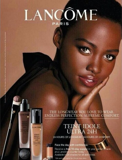 Lupita Nyong'o ad advertorial makeup ambassador face Lancôme