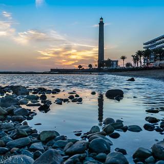 صورة Faro de Maspalomas قرب Maspalomas. faro atardecer playa maspalomas
