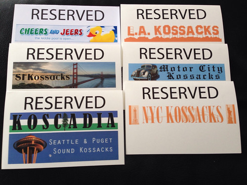 Plenary table reserved signs for Daily Kos groups for NN14