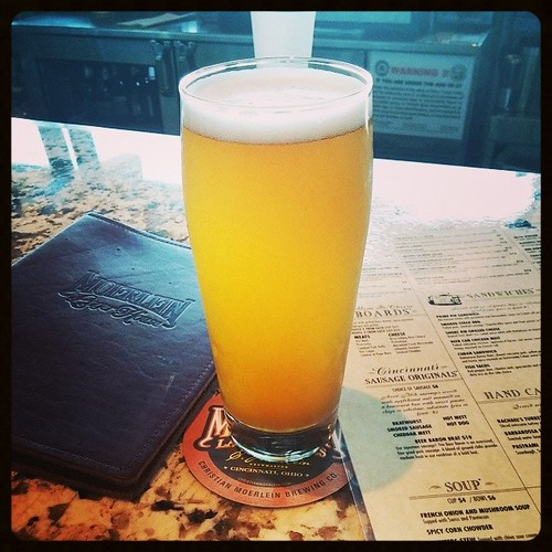 Having a Moerlein Jean Ro 20th Anniversary Hefeweizen at Moerlein Lager House with @genmae5...
