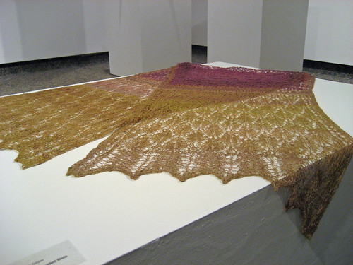 Tibetan Phoenix Beaded Lace Shawl handspun and knit by Irieknit in Plumage Juried Exhibition, Burlington, Ontario