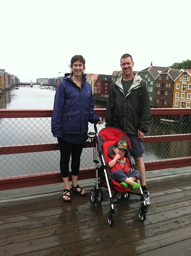 Daisy and family in the Old part of town in Trondheim, Norway.