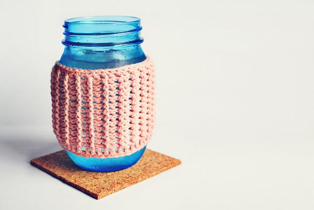Crochet rib mason jar cozy