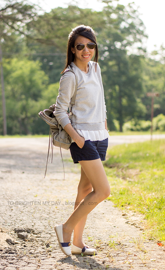ruffled sweatshirt, shorts, espadrilles