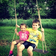 Ahh to swing from a tree! #purejoy #summerdays #brothersister #funlove #100happydays #day72