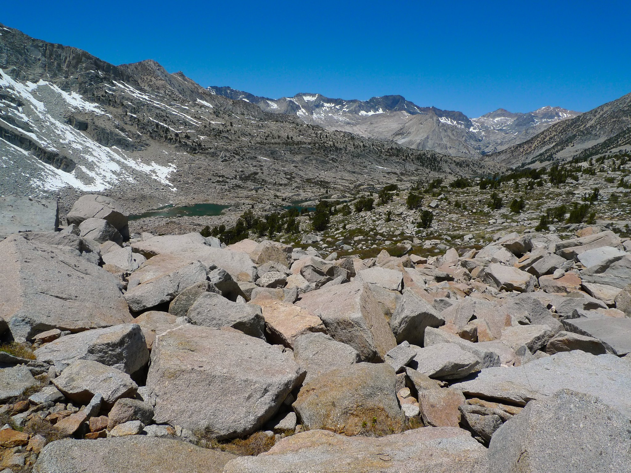 I'm stupid and stayed super high up, so I had to cross a ridiculous amount of large talus on my way up to Knapsack Pass