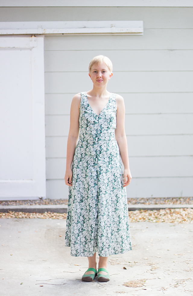 summery green-and-white floral maxi dress