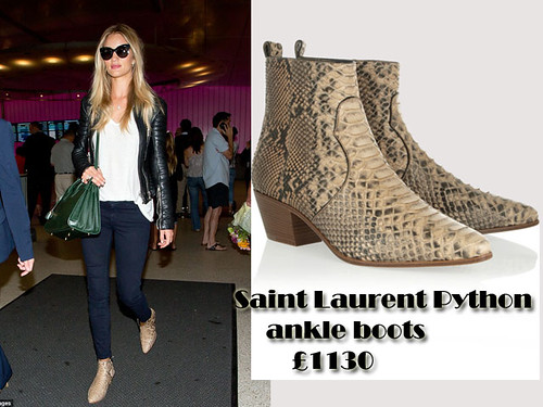 Black leather jacket, t-shirt, skinny jeans & Saint Laurent Python ankle boots: Fashionable flyer