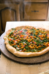 Buffalo Chickpea Ranch Pizza