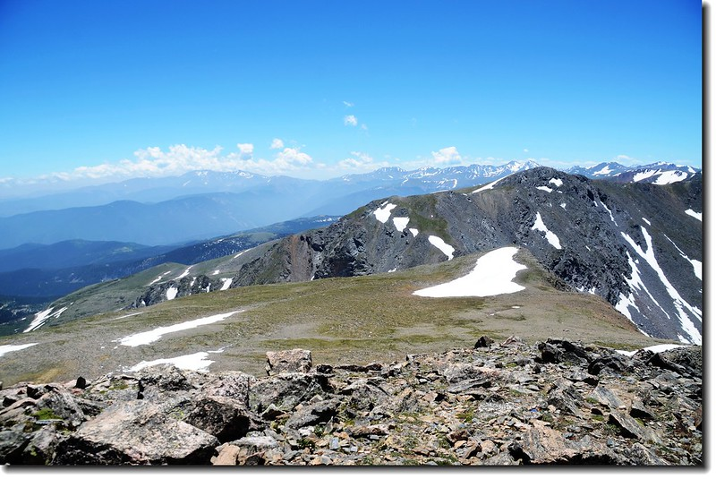 Looking at Mount Evans to Torreys Peak crest line from James Peak's summit