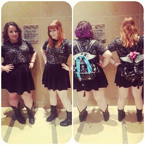 Matching Westeros outfits and winged backpacks - (t)winning! #sdcc2014 #sdcc