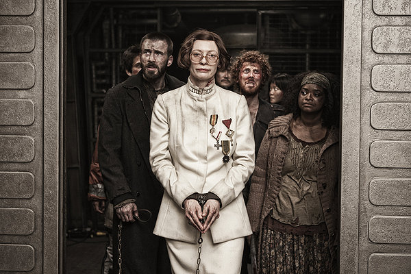 (L-R) Chris Evans, Tilda Swinton, and Octavia Spencer shake things up on the SNOWPIERCER.