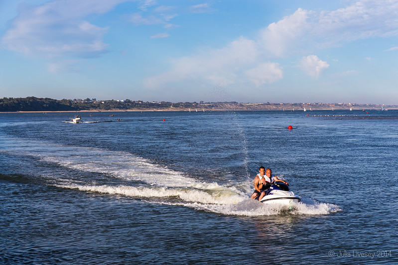 Jet-ski coming up the Race at Mudeford