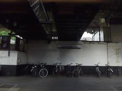 Cheltenham Spa Station - sign and bike rack