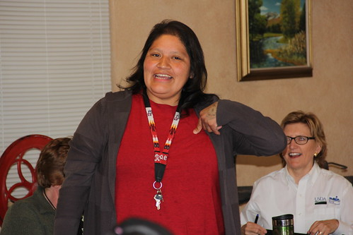 Head Start lead cook Raelynn Thomas of the Reno Sparks Indian Colony speaks as Sarah Adler, Nevada USDA Rural Development state director, facilitates discussion between federal, state, food bank, and tribal partners. Photo credit to Jenny Taylor, Nevada USDA Rural Development.