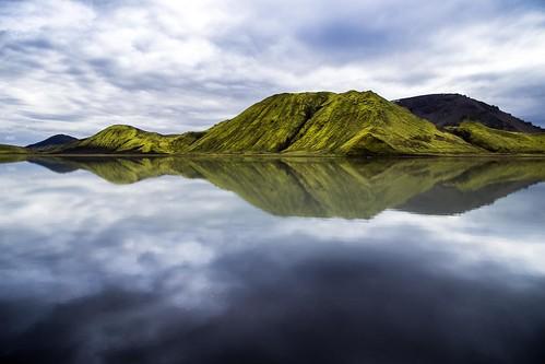 travel mountain reflection green water landscape iceland lapinski