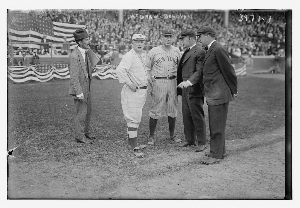 [John McGraw, manager, New York NL & Wild Bill Donovan, manager, New York AL with two umpires (baseball)] (LOC)