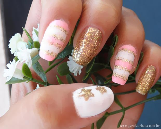 Unhas dourado e rosa 5