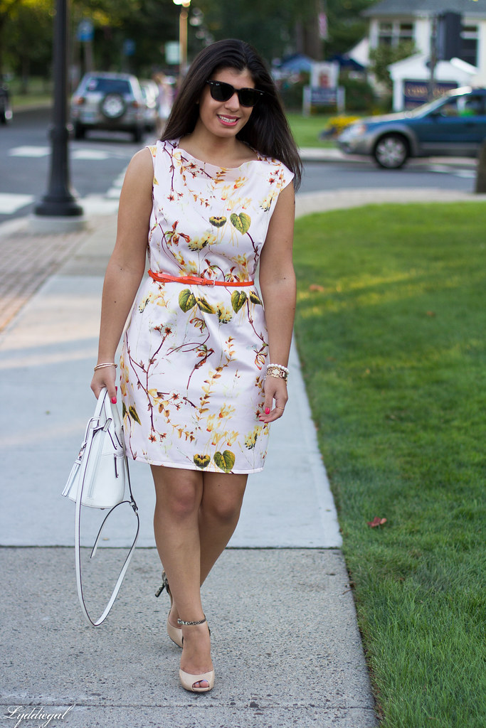 Pink Floral Print Dress, White Bag, Snake Pumps-1.jpg