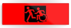 Accessible Means of Egress Icon Exit Sign Wheelchair Wheelie Running Man Symbol Group PWD Disability Evacuation Metal Printed 126