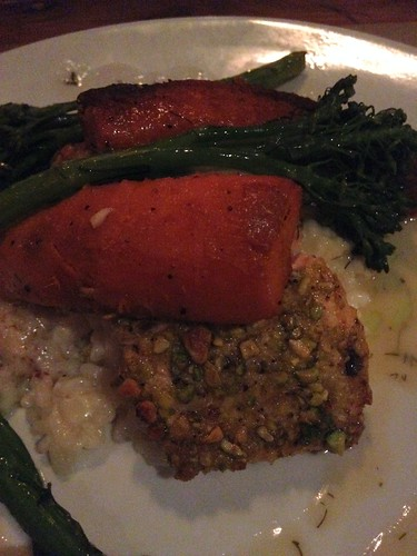 Pistachio Crusted Salmon + Risotto