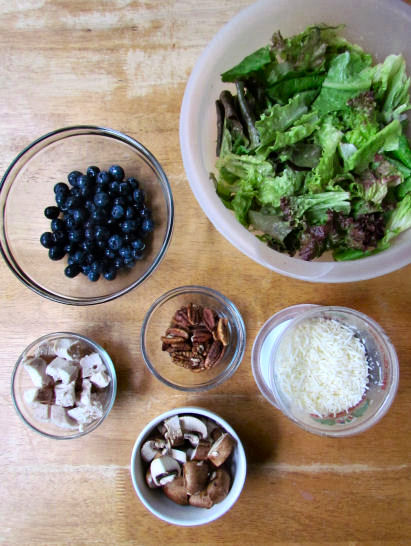 Blueberry Chicken Salad with Mushrooms, Asiago and Pecans