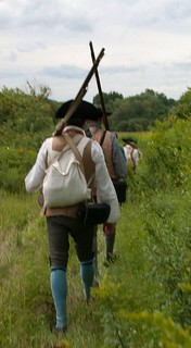 18th century militia marching in New York countryside