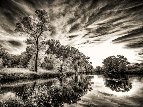 trees sunset summer sky bw white black reflection nature grass leaves wisconsin clouds river dark landscape ir stream day shadows unitedstates olympus infrared hdr pecatonica 2014 infraredcamera browntown 665nm epl2