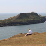 14 enjoying the view of Worms Head