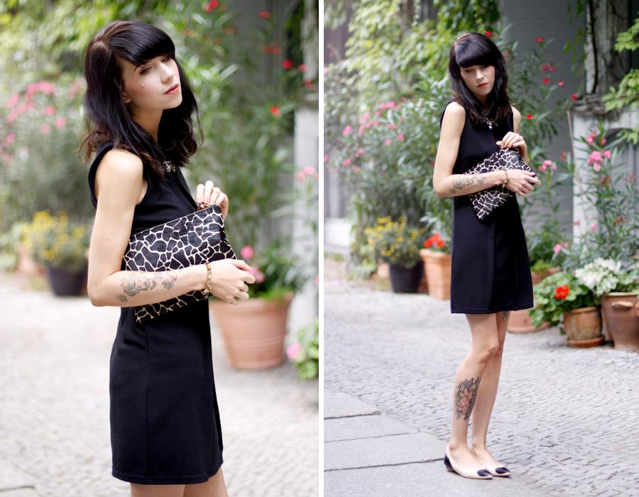 Chic going out look reserved little black dress leo clutch heart flats zinda ootd outfit lookbook CATS & DOGS Ricarda Schernus blogger berlin 5