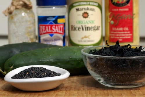 Ingredients for wakame kyuri so seaweed cucumber salad by Eve Fox, The Garden of Eating, copyright 2014