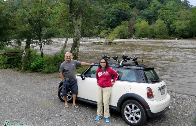 PIC: Mini Cooper with the backdrop of the French Broad River