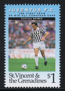 juventus the first team to win all europe cups stamp 12 - st. vincent & the grenadines