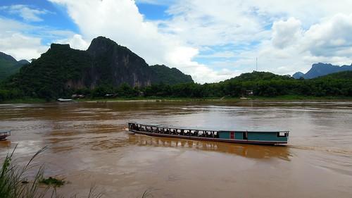 water river landscape boat nikon kayak outdoor laos province luangprabang 2014 namou p300