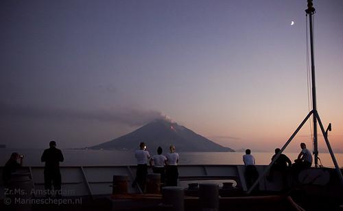Vulkaan Stromboli vanaf de Amsterdam