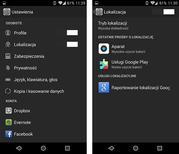 Ustawienia lokalizacji - Android