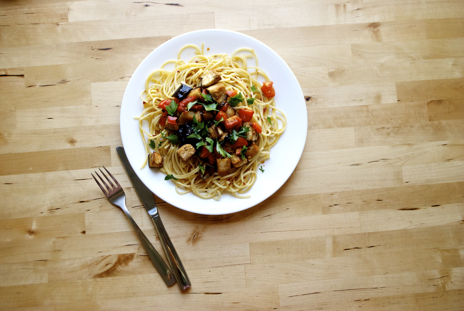 Roasted Eggplant and Tomato Pasta | Kitchen in the Hills