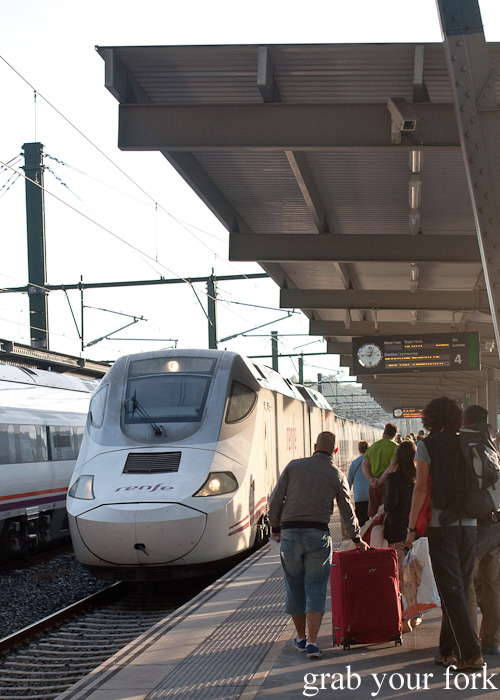 Catching the Renfe train from Santiago de Compostela to Madrid