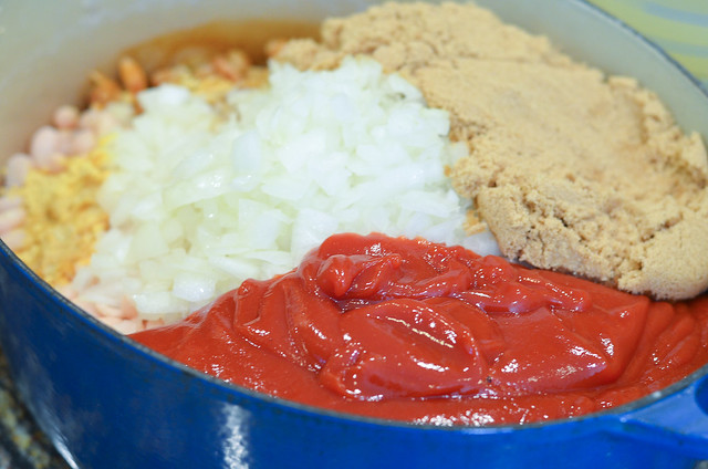 The remaining ingredients are added to the pot with the beans.