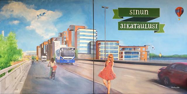 Ekokumppanit & Tampereen joukkoliikenne: aikatauluseinä 3 m x 1,5 m, 2014