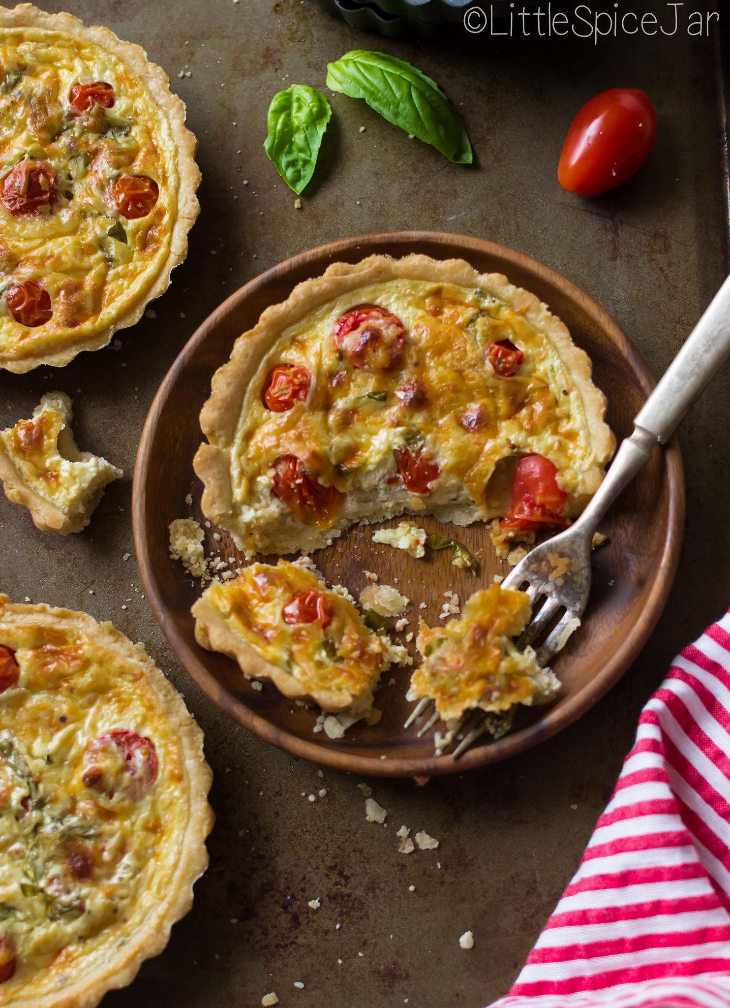 baked tomato basil tart